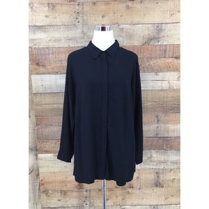 Soft Surroundings Women's Black Button Front Shirt